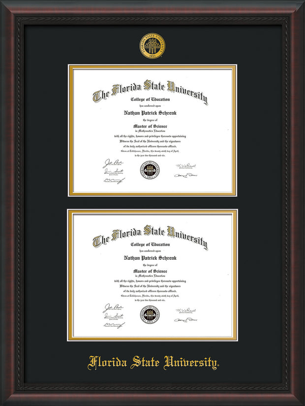 Image of Florida State University Diploma Frame - Mahogany Braid - w/Embossed FSU Seal & Name - Double Diploma - Black on Gold mats