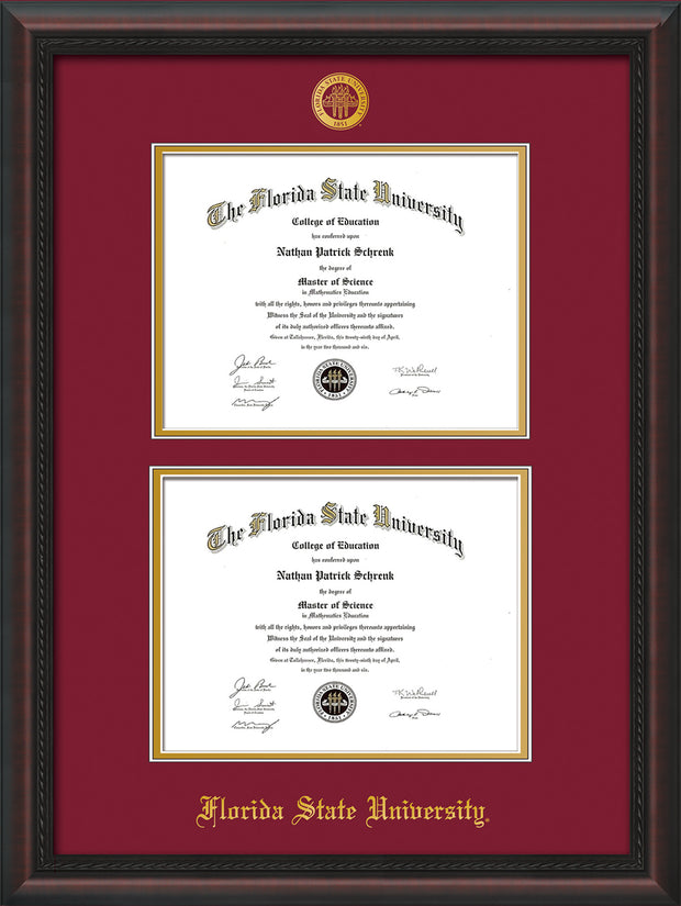 Image of Florida State University Diploma Frame - Mahogany Braid - w/Embossed FSU Seal & Name - Double Diploma - Garnet on Gold mats