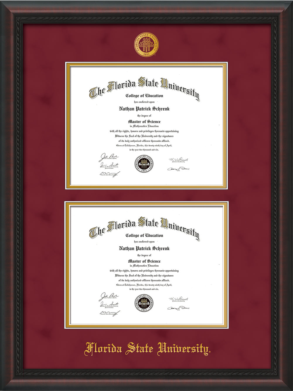 image of florida state university diploma frame mahogany braid wembossed fsu seal