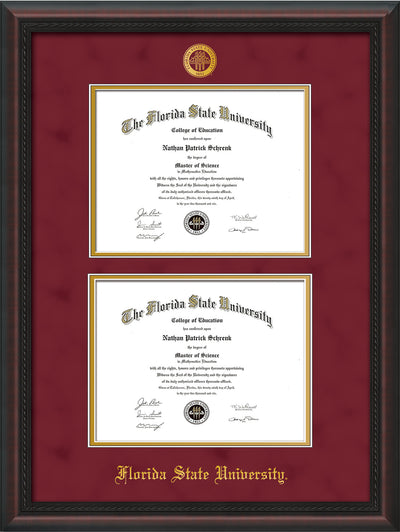 Image of Florida State University Diploma Frame - Mahogany Braid - w/Embossed FSU Seal & Name - Double Diploma - Garnet Suede on Gold mats