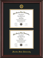 Image of Florida State University Diploma Frame - Mahogany Lacquer - w/Embossed FSU Seal & Name - Double Diploma - Black on Gold mats