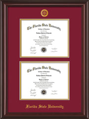 Image of Florida State University Diploma Frame - Mahogany Lacquer - w/Embossed FSU Seal & Name - Double Diploma - Garnet on Gold mats