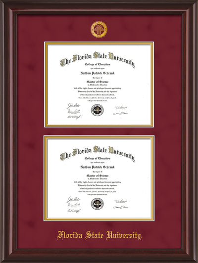 Image of Florida State University Diploma Frame - Mahogany Lacquer - w/Embossed FSU Seal & Name - Double Diploma - Garnet Suede on Gold mats