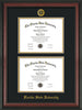 Image of Florida State University Diploma Frame - Rosewood - w/Embossed FSU Seal & Name - Double Diploma - Black on Gold mats