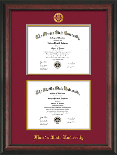 Image of Florida State University Diploma Frame - Rosewood - w/Embossed FSU Seal & Name - Double Diploma - Garnet on Gold mats