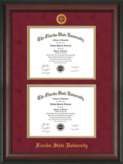 Image of Florida State University Diploma Frame - Rosewood - w/Embossed FSU Seal & Name - Double Diploma - Garnet Suede on Gold mats
