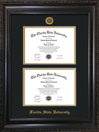 Image of Florida State University Diploma Frame - Vintage Black Scoop - w/Embossed FSU Seal & Name - Double Diploma - Black on Gold mats