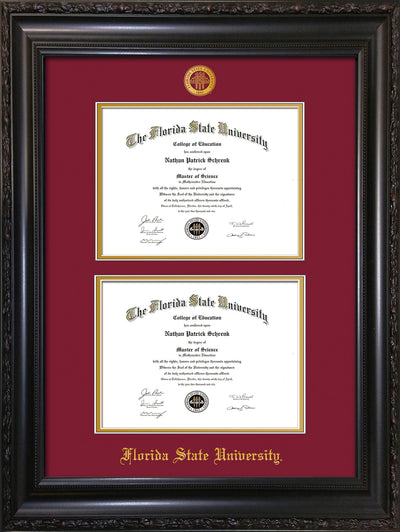 Image of Florida State University Diploma Frame - Vintage Black Scoop - w/Embossed FSU Seal & Name - Double Diploma - Garnet on Gold mats