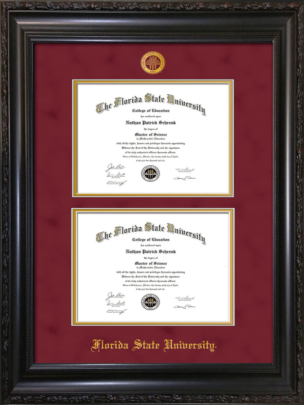 Image of Florida State University Diploma Frame - Vintage Black Scoop - w/Embossed FSU Seal & Name - Double Diploma - Garnet Suede on Gold mats