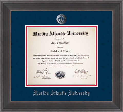 Image of Florida Atlantic University Diploma Frame - Metro Antique Pewter Double - w/Silver Embossed FAU Seal & Name - Navy Suede on Red mat