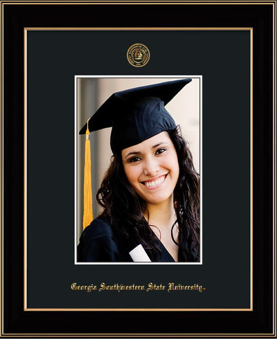 Image of Georgia Southwestern State University 5 x 7 Photo Frame - Black Lacquer - w/Official Embossing of GSW Seal & Name - Single Black mat