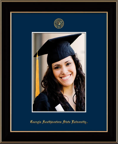 Image of Georgia Southwestern State University 5 x 7 Photo Frame - Black Lacquer - w/Official Embossing of GSW Seal & Name - Single Navy mat
