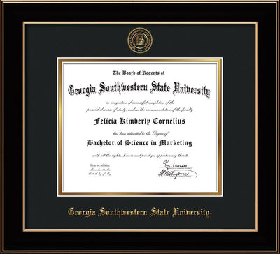 Image of Georgia Southwestern State University Diploma Frame - Black Lacquer - w/Embossed Seal & Name - Black on Gold mat