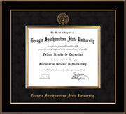 Image of Georgia Southwestern State University Diploma Frame - Black Lacquer - w/Embossed Seal & Name - Black Suede on Gold mat