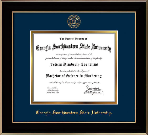 Image of Georgia Southwestern State University Diploma Frame - Black Lacquer - w/Embossed Seal & Name - Navy on Gold mat