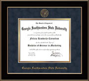 Image of Georgia Southwestern State University Diploma Frame - Black Lacquer - w/Embossed Seal & Name - Navy Suede on Gold mat