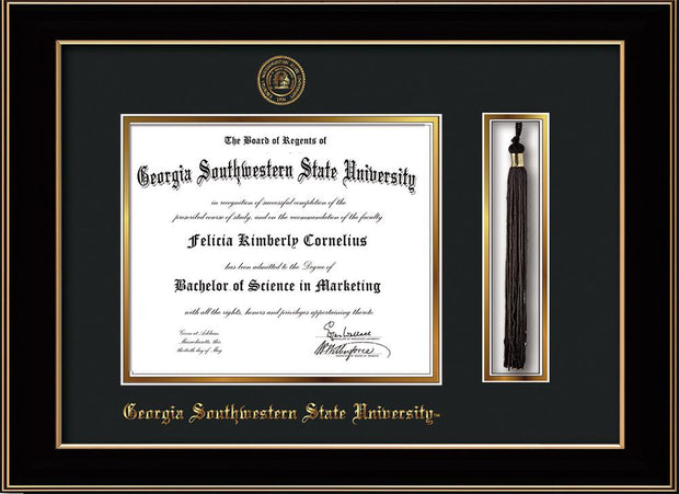 Image of Georgia Southwestern State University Diploma Frame - Black Lacquer - w/Embossed Seal & Name - Tassel Holder - Black on Gold mat
