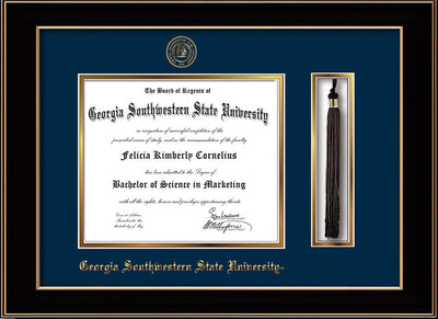 Image of Georgia Southwestern State University Diploma Frame - Black Lacquer - w/Embossed Seal & Name - Tassel Holder - Navy on Gold mat
