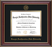 Image of Georgia Southwestern State Univerity Diploma Frame - Cherry Lacquer - w/Embossed Seal & Name - Black on Gold mat