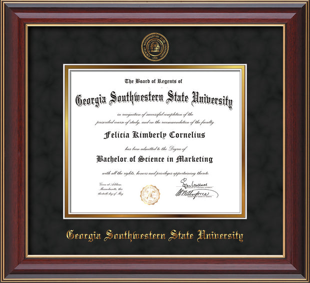 Image of Georgia Southwestern State Univerity Diploma Frame - Cherry Lacquer - w/Embossed Seal & Name - Black Suede on Gold mat