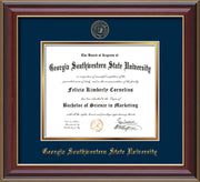 Image of Georgia Southwestern State Univerity Diploma Frame - Cherry Lacquer - w/Embossed Seal & Name - Navy on Gold mat