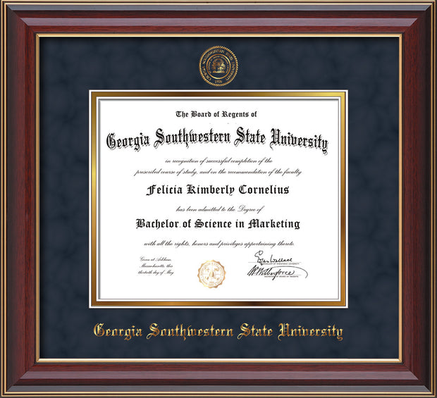 Image of Georgia Southwestern State Univerity Diploma Frame - Cherry Lacquer - w/Embossed Seal & Name - Navy Suede on Gold mat