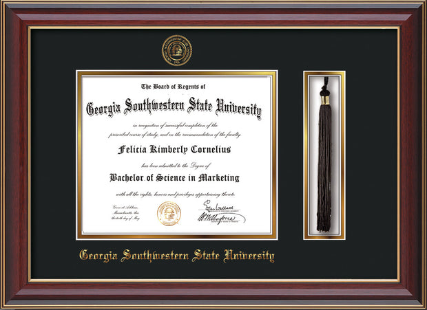 Image of Georgia Southwestern State Univerity Diploma Frame - Cherry Lacquer - w/Embossed Seal & Name - Tassel Holder - Black on Gold mat