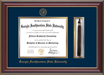 Image of Georgia Southwestern State Univerity Diploma Frame - Cherry Lacquer - w/Embossed Seal & Name - Tassel Holder - Navy on Gold mat