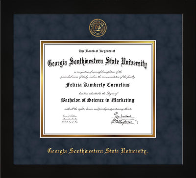 Image of Georgia Southwestern State University Diploma Frame - Flat Matte Black - w/Embossed Seal & Name - Navy Suede on Gold mat