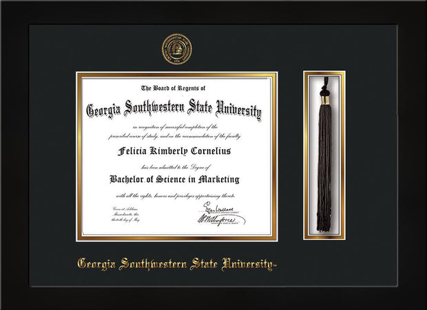 Image of Georgia Southwestern State University Diploma Frame - Flat Matte Black - w/Embossed Seal & Name - Tassel Holder - Black on Gold mat