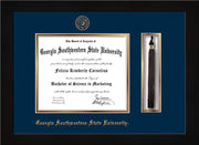 Image of Georgia Southwestern State University Diploma Frame - Flat Matte Black - w/Embossed Seal & Name - Tassel Holder - Navy on Gold mat
