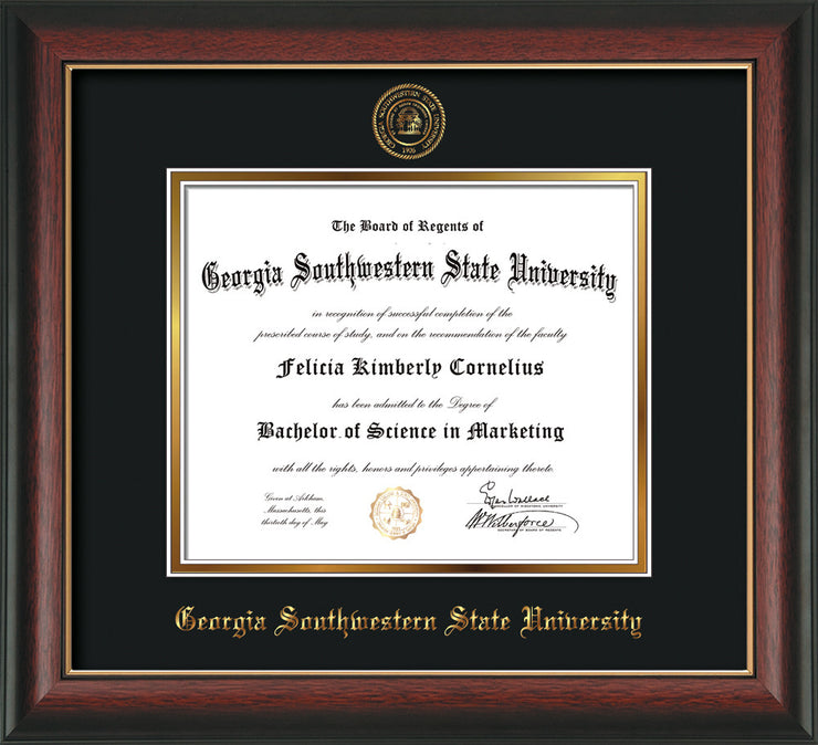 Image of Georgia Southwestern State Univerity Diploma Frame - Rosewood w/Gold Lip - w/Embossed Seal & Name - Black on Gold mat