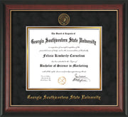 Image of Georgia Southwestern State Univerity Diploma Frame - Rosewood w/Gold Lip - w/Embossed Seal & Name - Black Suede on Gold mat