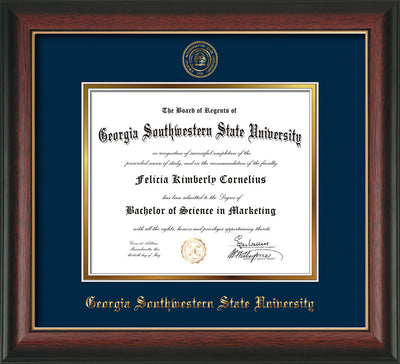 Image of Georgia Southwestern State Univerity Diploma Frame - Rosewood w/Gold Lip - w/Embossed Seal & Name - Navy on Gold mat