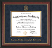 Image of Georgia Southwestern State Univerity Diploma Frame - Rosewood w/Gold Lip - w/Embossed Seal & Name - Navy Suede on Gold mat