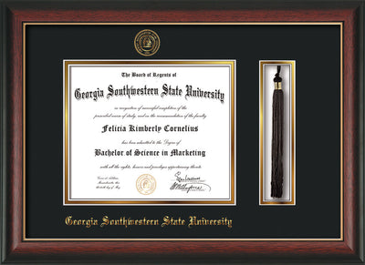 Image of Georgia Southwestern State Univerity Diploma Frame - Rosewood w/Gold Lip - w/Embossed Seal & Name - Tassel Holder - Black on Gold mat