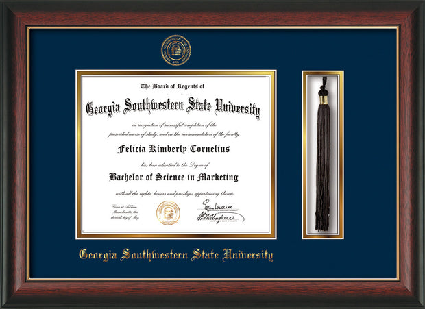 Image of Georgia Southwestern State Univerity Diploma Frame - Rosewood w/Gold Lip - w/Embossed Seal & Name - Tassel Holder - Navy on Gold mat