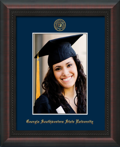 Image of Georgia Southwestern State University 5 x 7 Photo Frame - Mahogany Braid - w/Official Embossing of GSW Seal & Name - Single Navy mat