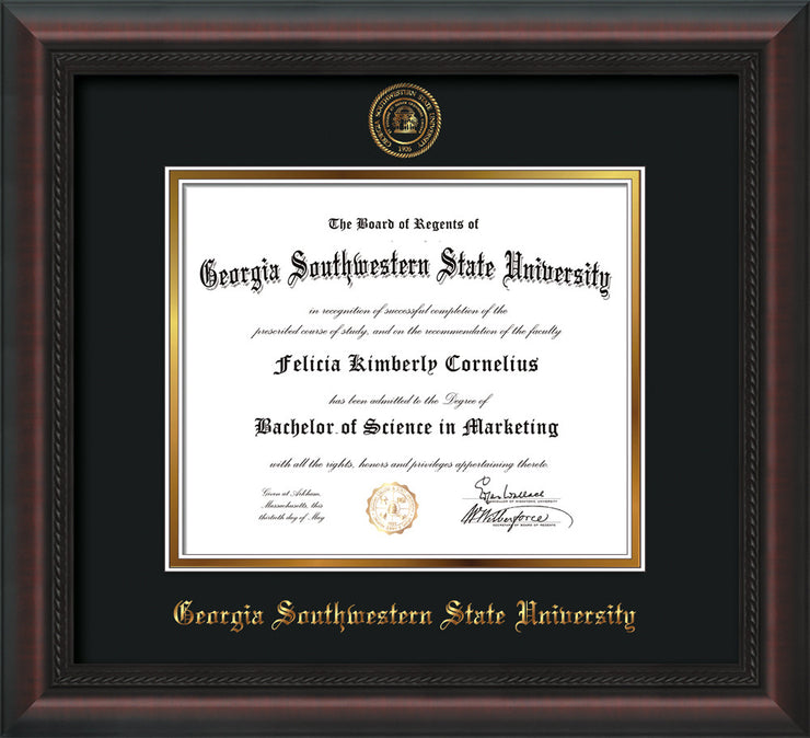 Image of Georgia Southwestern State Univerity Diploma Frame - Mahogany Braid - w/Embossed Seal & Name - Black on Gold mat