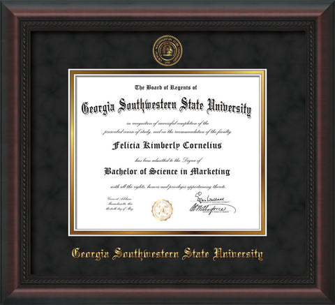 Image of Georgia Southwestern State Univerity Diploma Frame - Mahogany Braid - w/Embossed Seal & Name - Black Suede on Gold mat