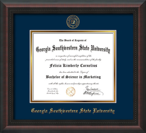 Image of Georgia Southwestern State Univerity Diploma Frame - Mahogany Braid - w/Embossed Seal & Name - Navy on Gold mat