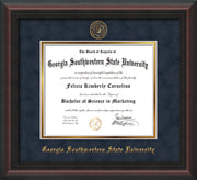 Image of Georgia Southwestern State Univerity Diploma Frame - Mahogany Braid - w/Embossed Seal & Name - Navy Suede on Gold mat