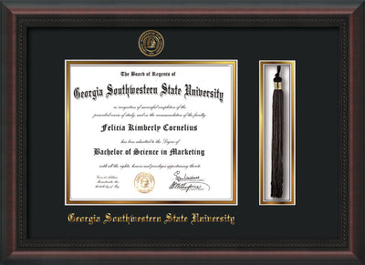 Image of Georgia Southwestern State Univerity Diploma Frame - Mahogany Braid - w/Embossed Seal & Name - Tassel Holder - Black on Gold mat