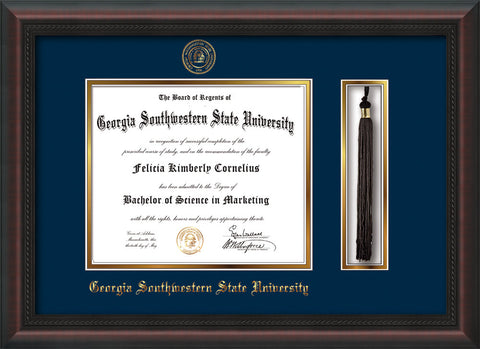 Image of Georgia Southwestern State Univerity Diploma Frame - Mahogany Braid - w/Embossed Seal & Name - Tassel Holder - Navy on Gold mat
