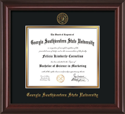 Image of Georgia Southwestern State Univerity Diploma Frame - Mahogany Lacquer - w/Embossed Seal & Name - Black on Gold mat
