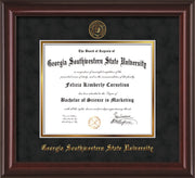 Image of Georgia Southwestern State Univerity Diploma Frame - Mahogany Lacquer - w/Embossed Seal & Name - Black Suede on Gold mat
