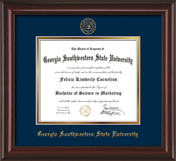 Image of Georgia Southwestern State Univerity Diploma Frame - Mahogany Lacquer - w/Embossed Seal & Name - Navy on Gold mat