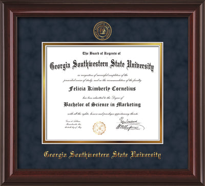 Image of Georgia Southwestern State Univerity Diploma Frame - Mahogany Lacquer - w/Embossed Seal & Name - Navy Suede on Gold mat