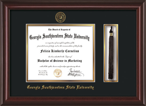 Image of Georgia Southwestern State Univerity Diploma Frame - Mahogany Lacquer - w/Embossed Seal & Name - Tassel Holder - Black on Gold mat