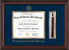 Image of Georgia Southwestern State Univerity Diploma Frame - Mahogany Lacquer - w/Embossed Seal & Name - Tassel Holder - Navy on Gold mat